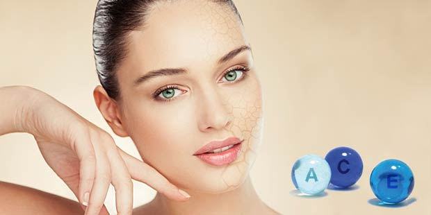 Skincare with vitamins A,C.E for damaged skin