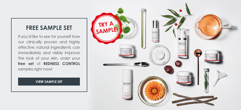 Skin care samples  for skin prone to redness
