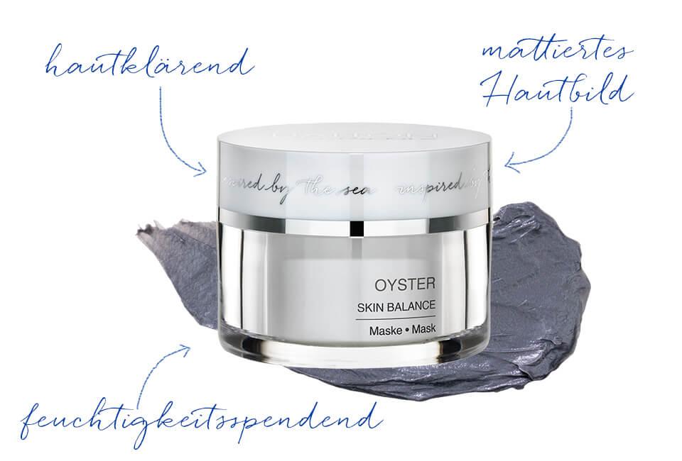 Klärende Gesichtsmaske mit dem Wirkstoff der Auster