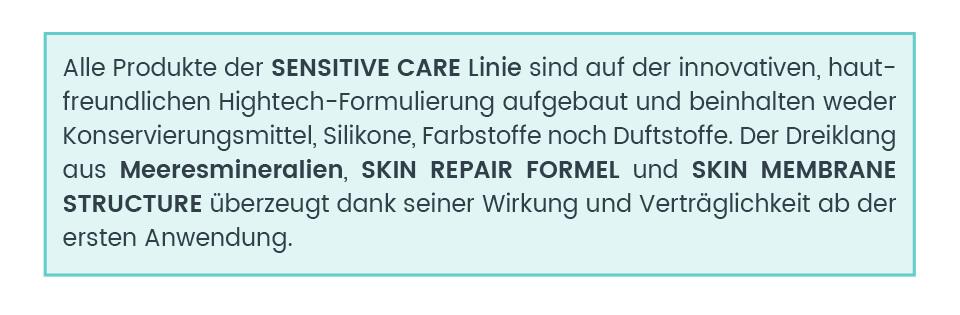 Sensitive Care Pflegelinie ohne Duftstoffe, Konservierungesmittel, Silikone oder Farbstoffe