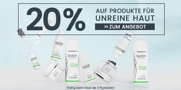 20% auf Produkte für unreine Haut