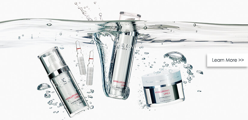 Hydrating skincare products with hyaluronic acid and urea for dehydrated, dry skin
